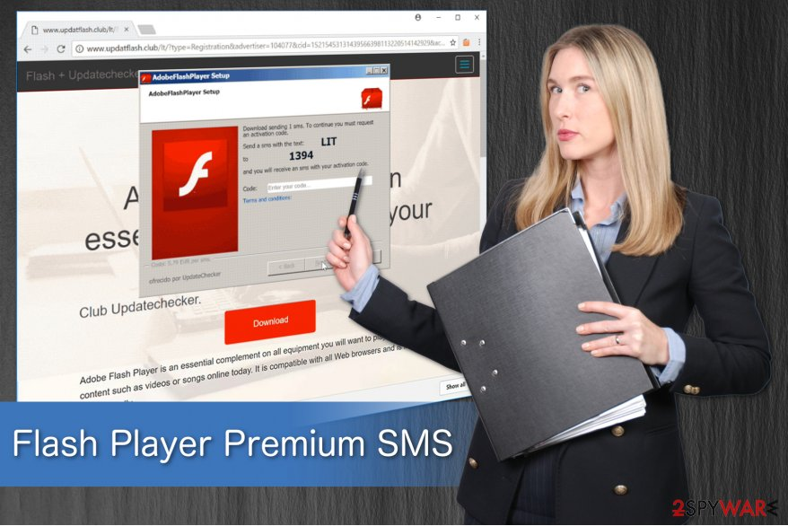 Flash Player Premium SMS illustration showing a phishing attempt