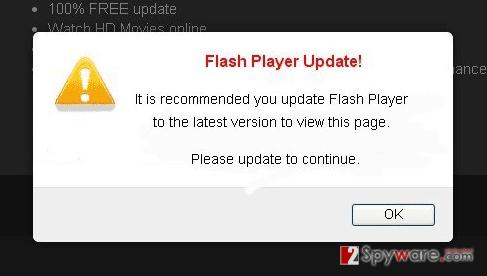 The image revealing Flash Player Update! virus