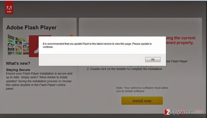 Urgentflashinstaller.info pop-up virus snapshot