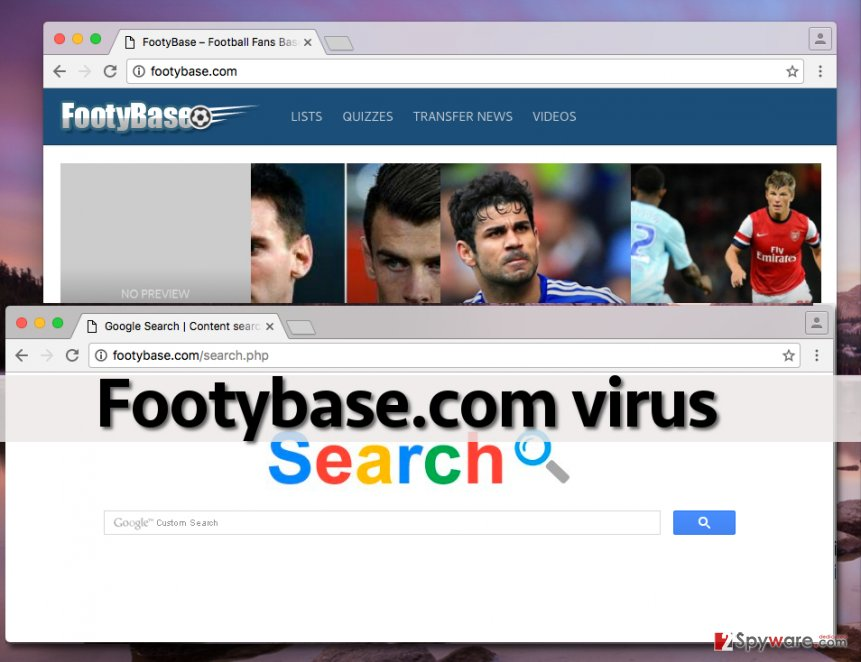 Image showing Footybase.com site and search engine