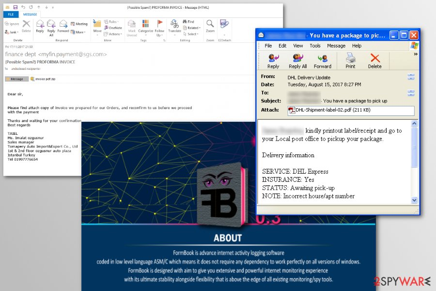 FormBook virus spreasd via malicious spam emails