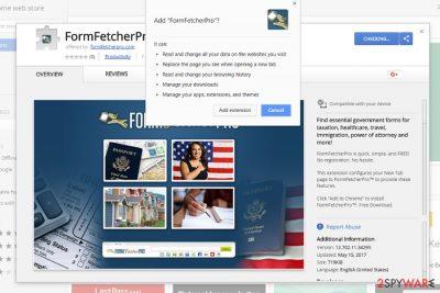 The image displaying FormFetcherPro add-on on Chrome Web store