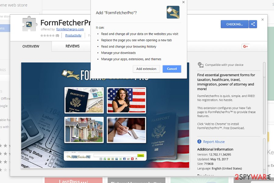 The image displaying FormFetcherPro add-on on Chrome Web store