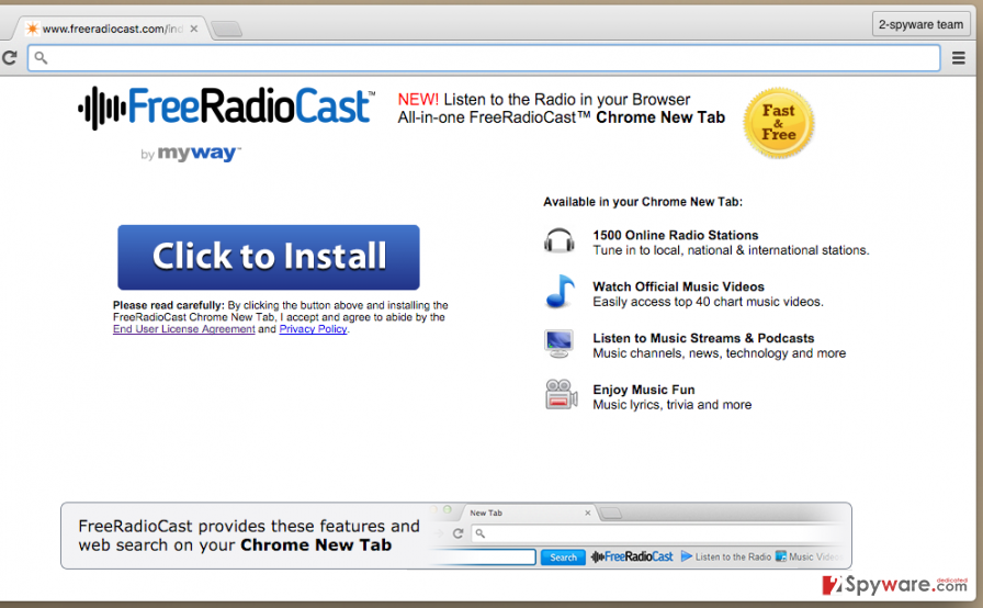 Free Radio Cast Toolbar official page