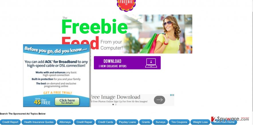 The image showing  FreebieCo ads