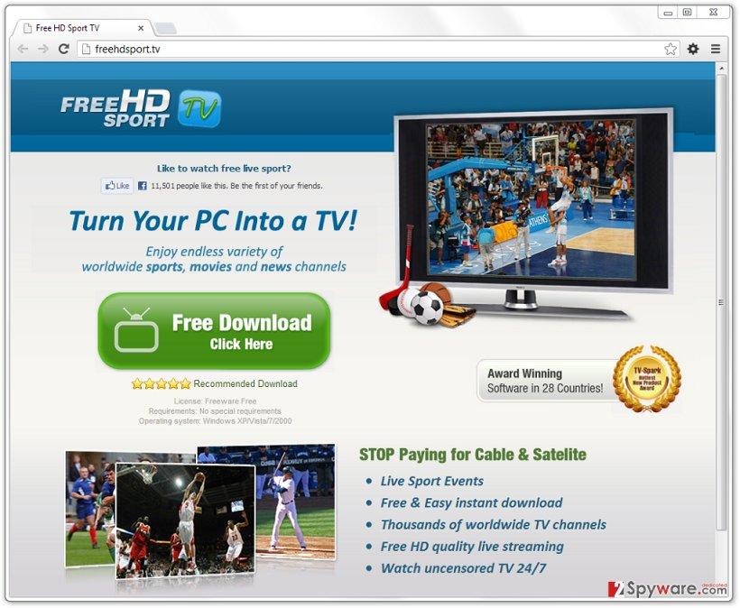 FreeHD-Sport TV V9.0 adware snapshot