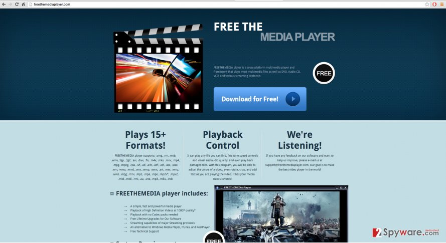A screenshot of the FreeTheMedia Player website
