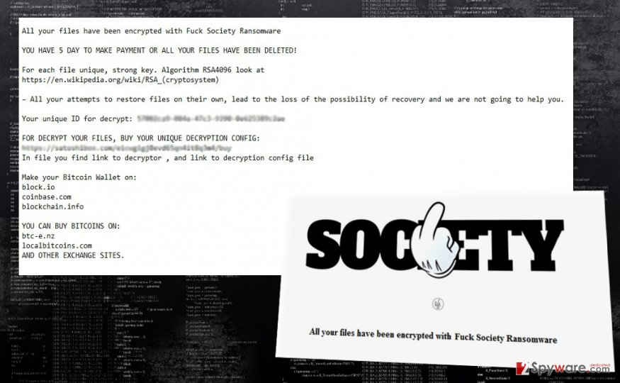 The fragment of FuckSociety virus attack