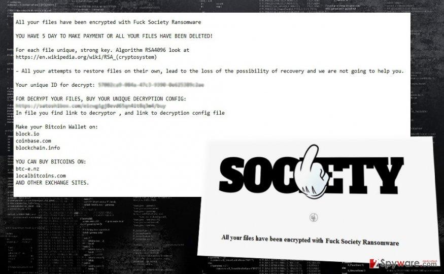 The fragment of FuckSociety virus attack