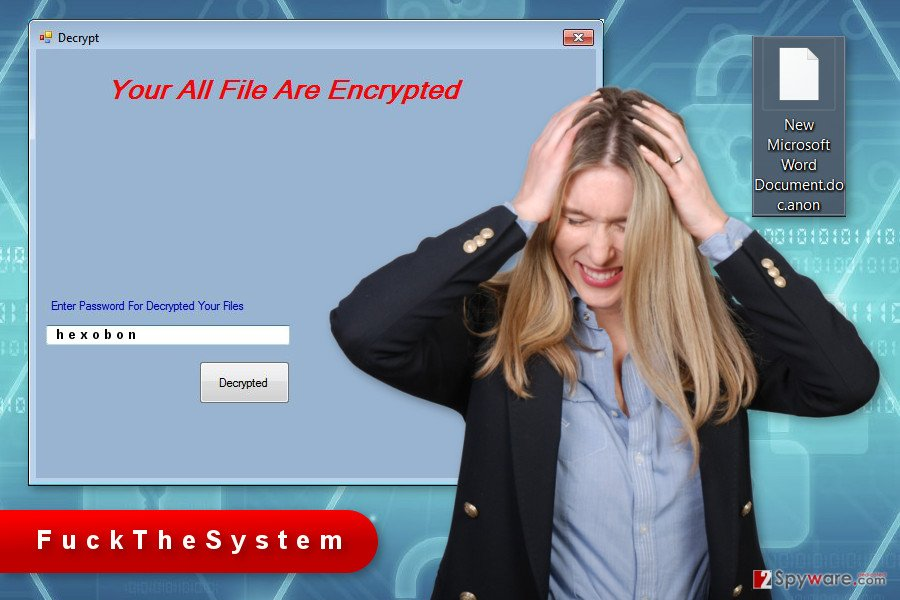 The image of FuckTheSystem ransomware virus