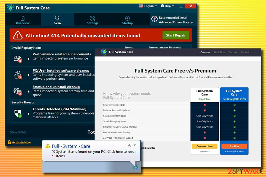 Full System Care fake scan results