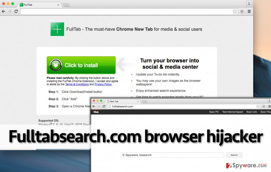 Fulltabsearch.com browser hijacker in Chrome
