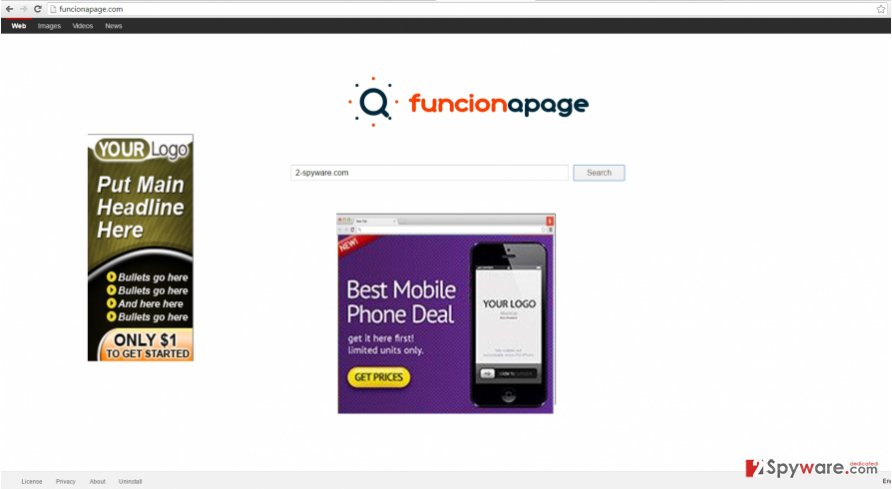 The screenshot of funcionapage.com