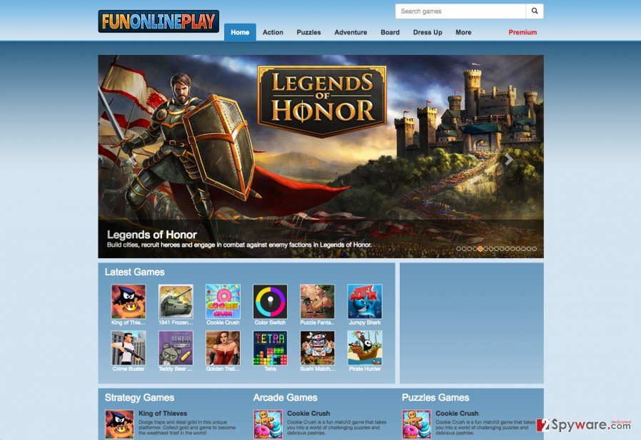 A screenshot of the FunOnlinePlay adware download website