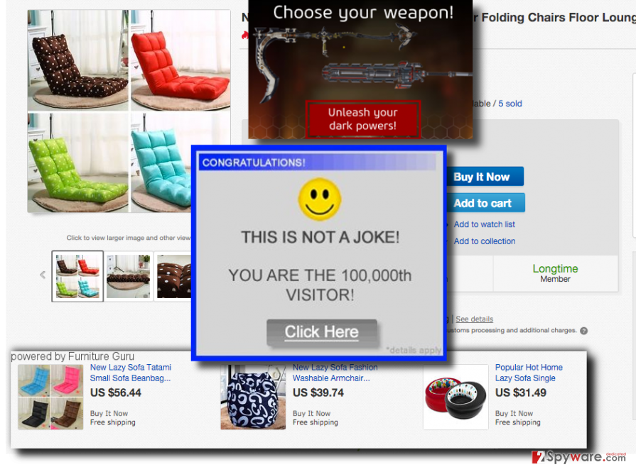 Furniture Guru adware displaying ads