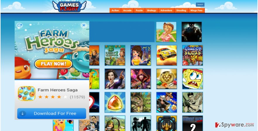 The image showing GamesFlight ads