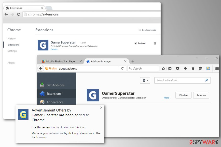 GamerSuperstar adware installed on browsers