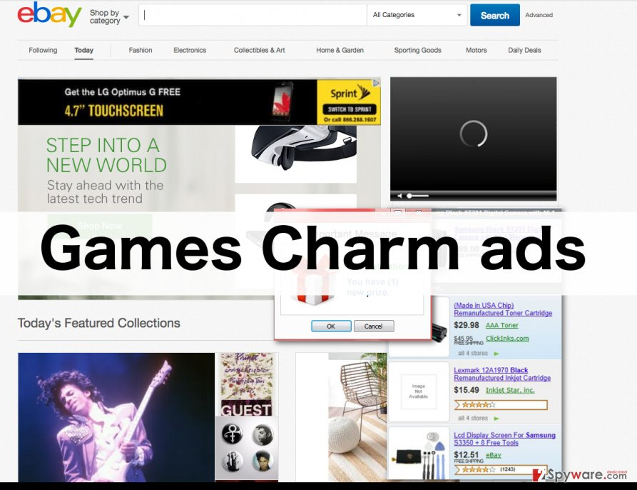A screenshot of the Games Charm ads