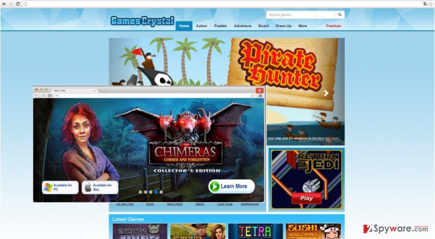 The picture displaying GamesCrystal ads