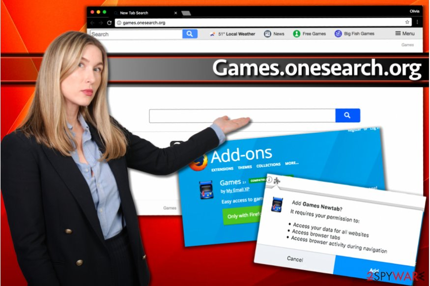 Installation of Games.onesearch.org redirect virus