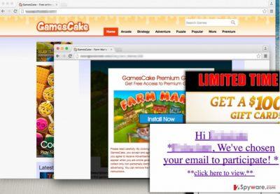Website of GamesCake adware