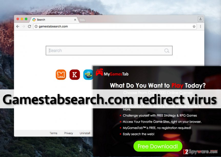 The search engine that Gamestabsearch.com virus sets to appear on homepage