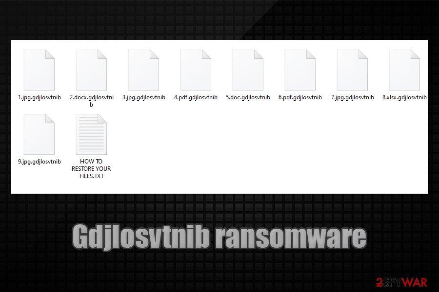 Gdjlosvtnib ransomware locked data