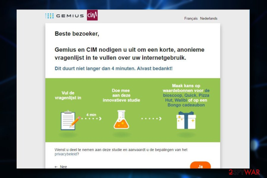 Gemius PUP generates survey ads