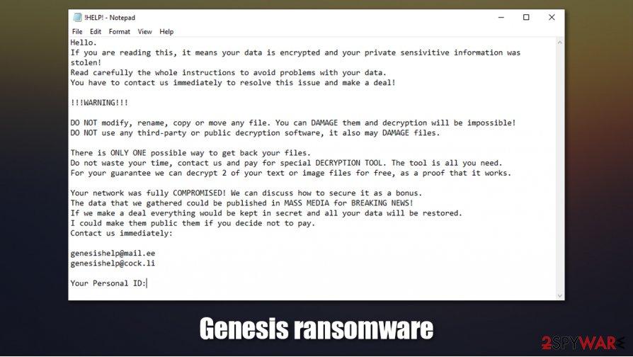 Genesis ransomware