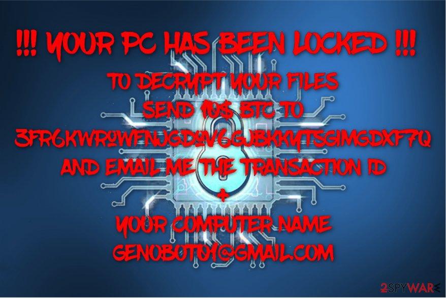 GenoCheats ransomware image
