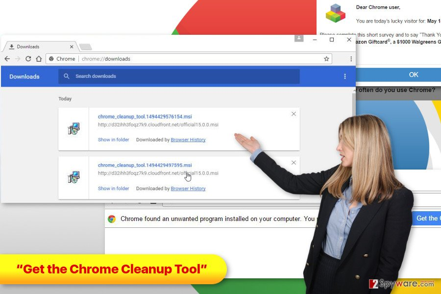 "The example of ""Get the Chrome Cleanup Tool"" ads"