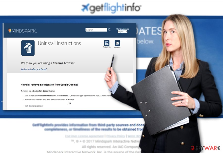 The image displaying GetFlightTicket1 main page and uninstall instructions