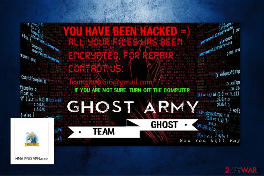 The image of GHOST ARMY ransomware