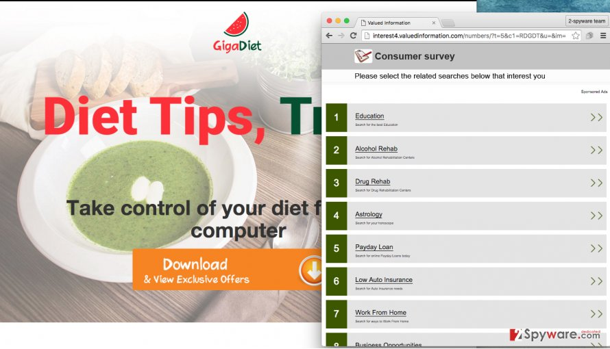 GigaDiet adware displays numerous ads and causes redirects