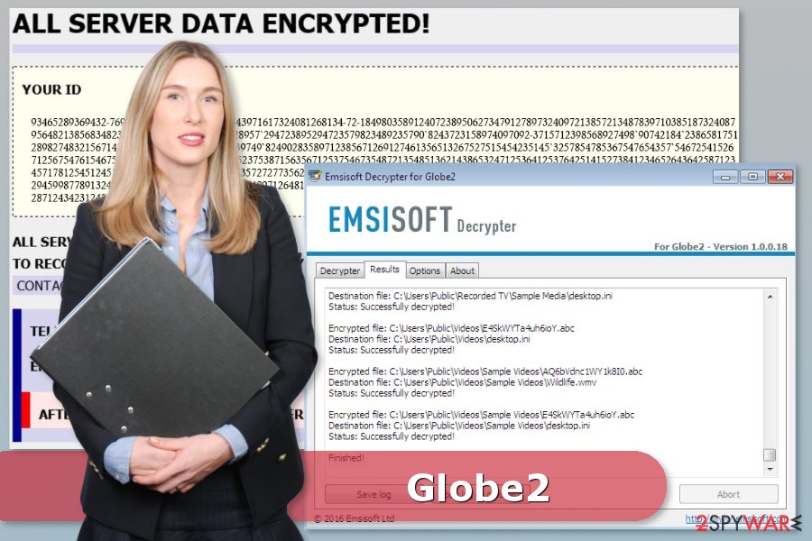 Picture of Globe2 ransomware virus