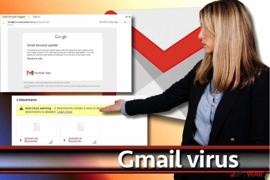 Gmail virus screenshot