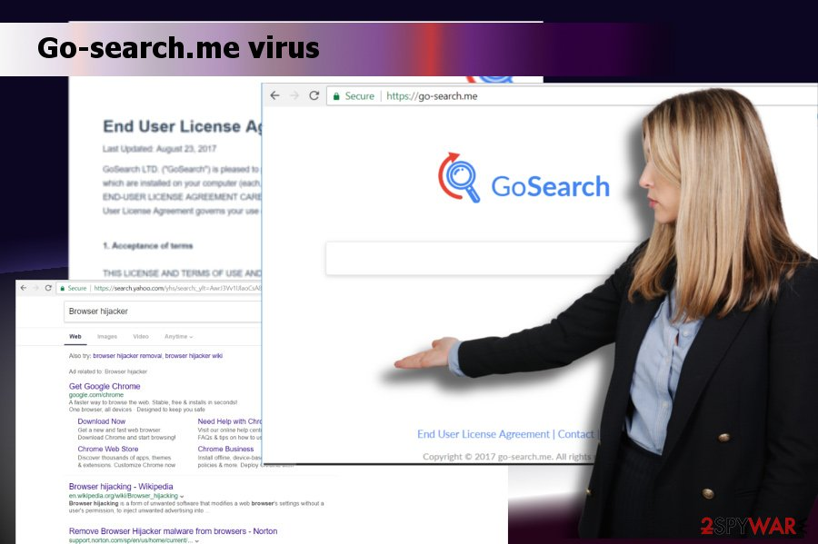 A printscreen of Go-search.me virus