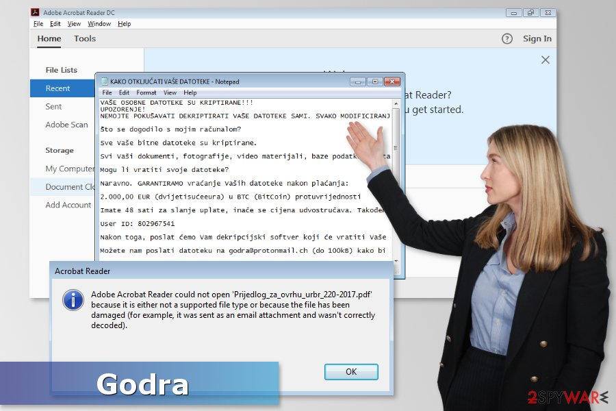The image of Godra ransomware virus