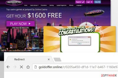Example of Goldoffer.online adware