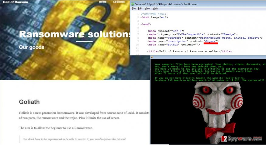 The example of Goliath ransomware virus purchase site