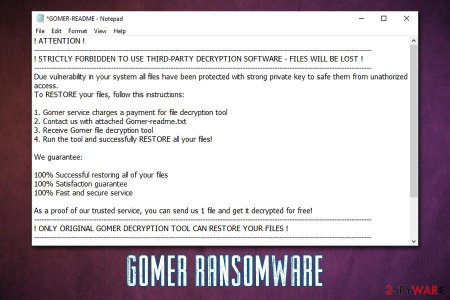 Gomer ransomware