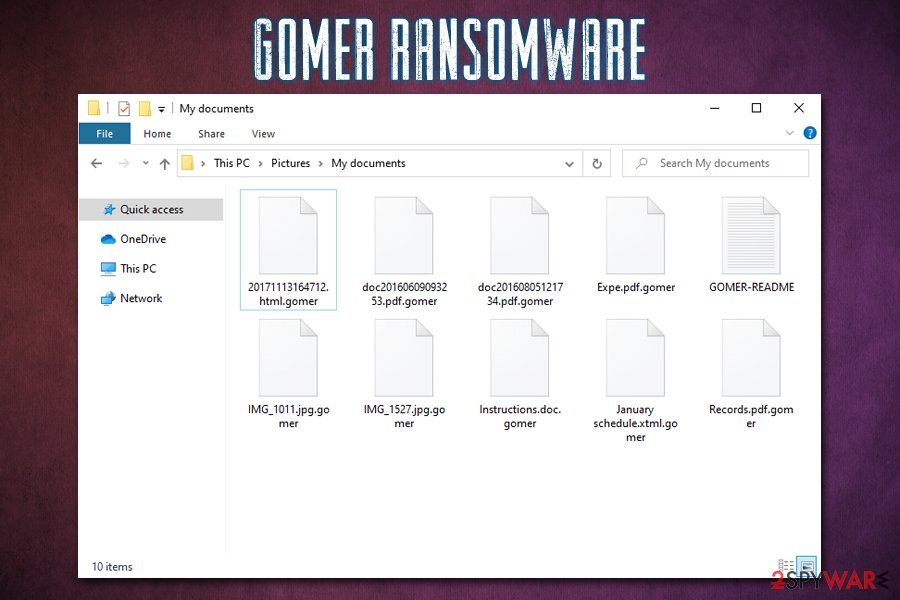 Gomer ransomware encrypted files
