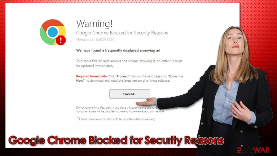 Google Chrome Blocked for Security Reasons scam