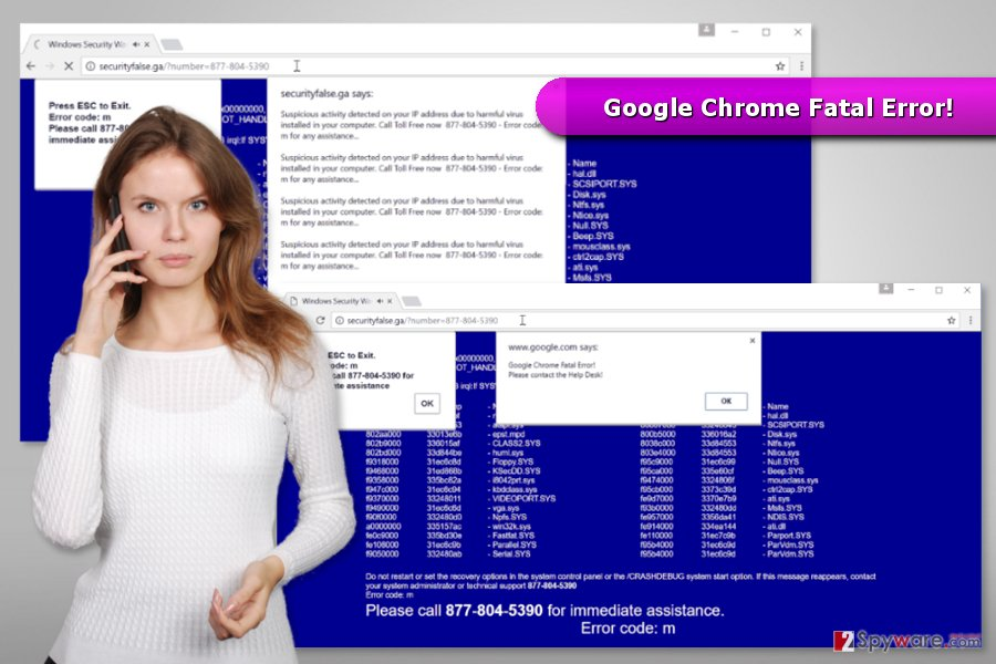 "The image of ""Google Chrome Fatal Error!"" virus"
