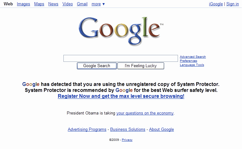"""Google has detected"" web page"