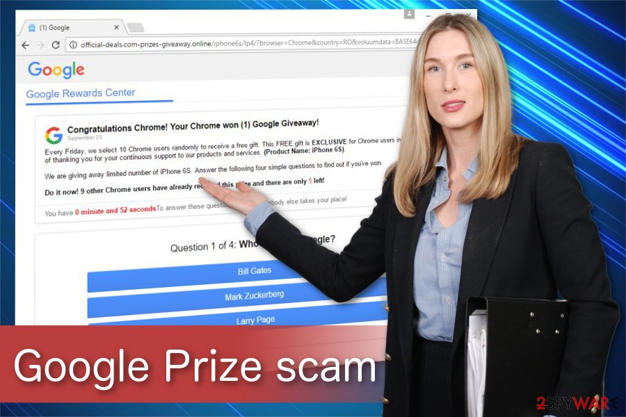 Google Prize scam illustration