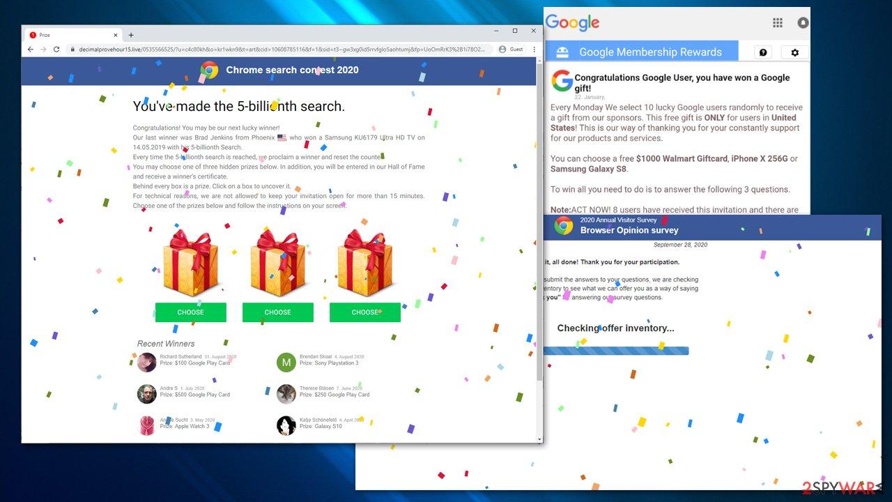 Google Prize scam virus