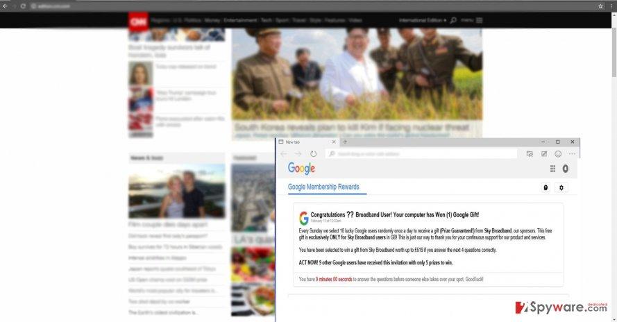 The screenshot of Google Rewards Center ads