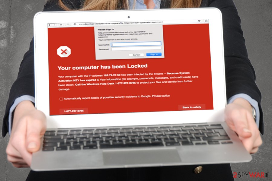 """Google Security Warning"" pop-up scam"