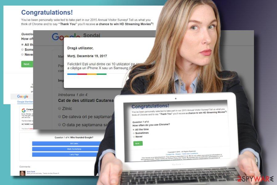 """An expert showing """"Google Survey"""" pop-up virus"""